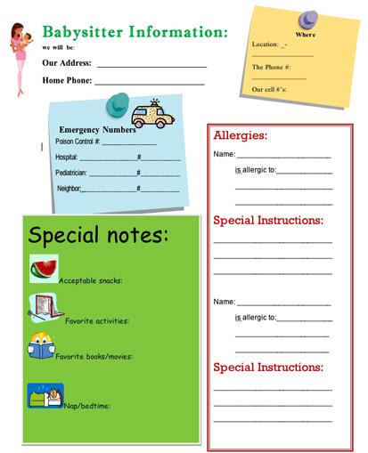 the ultimate babysitter s info sheet girlslife