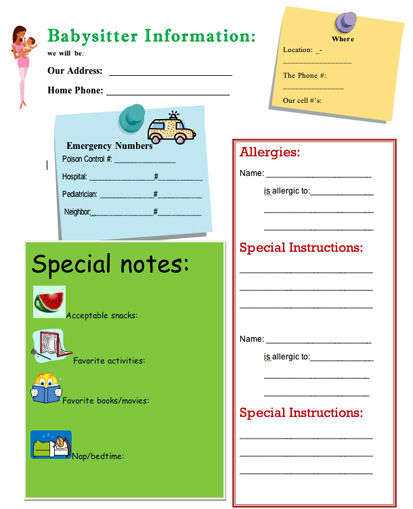 the ultimate babysitter s info sheet girlslife