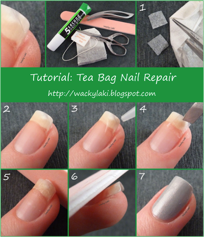 How to repair a broken nail with a tea bag girlslife for How to fix a broken nail with a tea bag