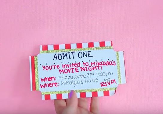 We Love These DIY Movie Ticket Invitations. Theyu0027re Super Easy And  Creative. Send One To Your Crush Too, If Youu0027re Feeling Bold!