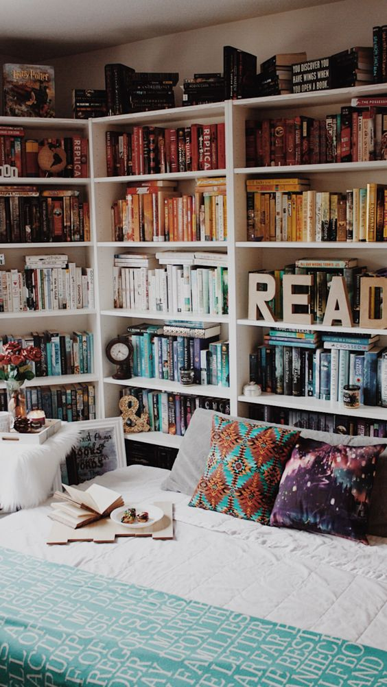 Were Obsessed With The Fun Wooden Letters On This Shelf Not To Mention How Bed Placement Means You Can Literally Be Surrounded By All Of Your Books
